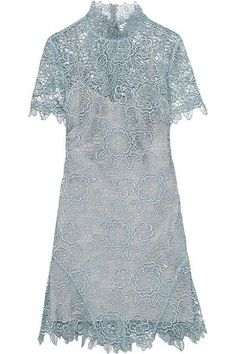 Sky-blue guipure lace Tie and zip fastening at back 100% polyester Hand wash Designer color: Icy Blue  Imported