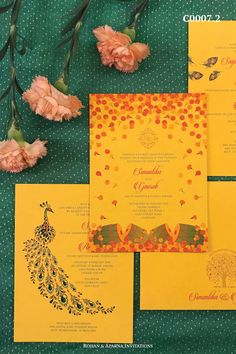 Peacock & falling flowers inspired wedding invitation in a brilliant yellow colour theme. For more design ideas, visit www.rohanaparna.com ——————————————— #rohanaparnainvitations #weddinginvitations #weddingcards #indianweddingcard #reception #weddingcard #shaadi #shaadicard#hinduweddingcard #mehendi #indianwedding #ecard #destinationwedding #weddingcards #royalwedding #yellowwedding #yellowinvite #yellowweddingcard Wedding Reception Cards, Indian Wedding Cards, Luxury Wedding Invitations, Invitation Card Design, Invitation Cards, Invites, Nature Inspired Wedding, Indian Flowers, Yellow Wedding