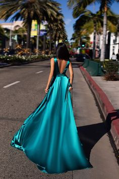 A&N Luxe Zaniya Satin Gown - Turquoise - 2020 New Prom Dresses Fashion - Fashion Of The Year Pretty Prom Dresses, Grad Dresses, Ball Dresses, Satin Dresses, Sequin Dress, Elegant Dresses, Homecoming Dresses, Sexy Dresses, Beautiful Dresses