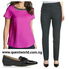 Embellished Shell #Top Magenta size 12 #5500 New Wool Blend Modern Slim Leg #Trousers size 10 16 18 20 #6000 #Loafers size 5.5/38.5 #7500 www.questworld.com.ng