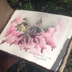 Quick sketch of cherry blossom || Что делать, если весной хочется перенести на бумагу все, что видишь вокруг? Главное успеть сделать наброски карандашом, иногда подписать цвета, а потом, сидя в кафешке или дома, можно быстро доделать набросок || #limkina_art #limkina