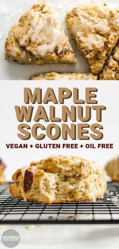 These Vegan Maple Walnut Scones are soft, fluffy and moist on the inside with a crispy exterior. Incredibly easy and healthy scones to enjoy for breakfast or as a snack! Scones Vegan, Dairy Free Scones, Vegan Pumpkin Pancakes, Healthy Scones, Pumpkin Dessert, Vegan Scones Recipe Easy, Vegan Gluten Free Desserts, Gluten Free Pumpkin, Vegan Dessert Recipes