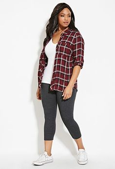 Plus Size Capri Leggings | Forever 21 PLUS - 2000150284 Check out our amazing collection of plus size leggings at http://wholesaleplussize.clothing/