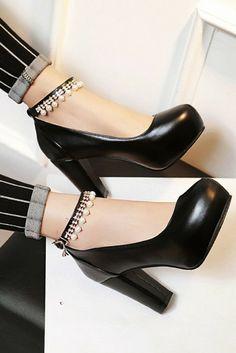 ea68213ec1df PU Round Toe Pearl High Block Heel Ankle Strap Pumps