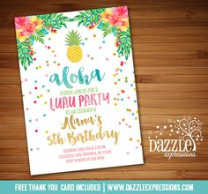 Printable Watercolor Pineapple Birthday Invitation | Watercolor Tropical Floral | Luau | Confetti  Gold Foil | Hawaiian Party | Adult or Kids Birthday Party for any age! | Available for Bridal Shower or Baby Shower, just ask! | Summer Pool Party | FREE thank you card included | Printable Matching Party Package Decorations Available! Banner | Signs | Labels | Favor Tags | Water Bottle Labels and more! www.dazzleexpressions.com