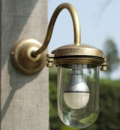 Stable Light with Flat Mounting in Antiqued Brass made by Jim Lawrence Sconces, Chandeliers And Pendants, Light, Exterior, Chandelier, Wall Lights, Home Decor, Brass, Outdoor Lighting