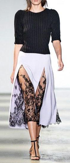 Lavender Skirt : High Slits : Black Lace Pleat Inset : Perfect Black Sandal : WES GORDON : Spring 2014