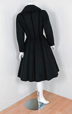 1940's Lilli-Ann Black Wool Velvet Double-Breasted Princess Coat image 5