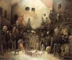 The Weird and Surreal Art of Zdzislaw Beksinski Arte Horror, Horror Art, Fantasy Kunst, Fantasy Art, Art Macabre, Art Sinistre, Art Visionnaire, Creepy Art, Gothic Art