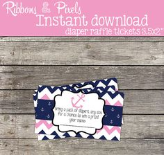 INSTANT DOWNLOAD Nautical Girl Diaper Raffle Tickets Blue and Pink Chevron Matching Item 10 Business Card Sized 3.5x2 Nautical Girl Shower