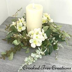 Hydrangea Wreath Hydrangea Candle Ring White Hydrangeas   Etsy Hydrangea Wreath, Sunflower Wreaths, Large Candles, Pillar Candles, Wedding Wreaths, Wedding Decor, Square Wreath, Farmhouse Candles, Candle Rings
