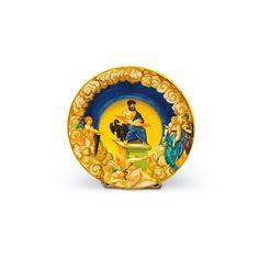 Urbino, atelier de Francesco Xanto Avelli da Rovigo (vers 1487-vers 1542), Tondino à décor polychrome a istoriato, au revers, inscription « Alta visio d'imera siragusa F. X. à R », vers 1540, diam. 27,5 cm. Frais compris : 81 250 €. Lyon, dimanche 21 juin. Bremens - Belleville SVV.