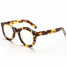 1074e1419b8 Amazon.com  Khoty New Hand Made Vintage Retro Round Plate Men Women Blue  Light Eyeglasses Glasses (Tortoise)  Clothing