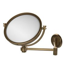 8 Inch Wall Mounted Extending Make-Up Mirror 3X Magnification with Groovy Accent, Brushed Bronze - (In No Image Available)