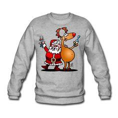#Weihnachten #Christmas #Pullover #Sweater Weihnachtsmann und seine Rentiere Männer Pullover #Spreadshirt #Cardvibes #Tekenaartje #SOLD
