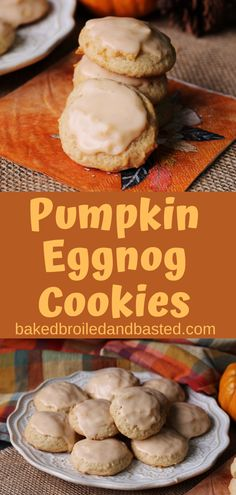 If you love pumpkin eggnog imagine them in a cookie. This cookie taste of the holidays, with spices and a slight rum flavor. The cookie is tender and cake like and the glaze adds just the perfect amount of sweetness. Chocolate Marshmallow Cookies, Chocolate Chip Shortbread Cookies, Toffee Cookies, Spice Cookies, Fall Dessert Recipes, Delicious Cookie Recipes, Fall Recipes, Thanksgiving Recipes, Holiday Recipes
