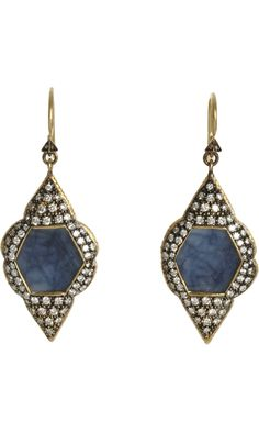 Cathy Waterman Blue Shire Scalloped Frame Earrings