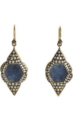Cathy Waterman Blue Sapphire Scalloped Frame Earrings