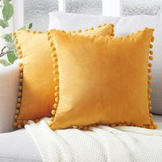 Top Finel Decorative Throw Pillow Covers with Pom Poms Soft Particles Velvet Solid Cushion Covers 18 X 18 for Couch Bedroom Car, Pack of Mustard Yellow Yellow Pillow Covers, Yellow Throw Pillows, Yellow Cushions, Cute Pillows, Velvet Cushions, Throw Pillow Covers, Bed Pillows, Plush Pillow, Yellow Bedding