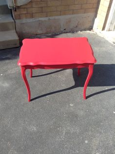 Red French Provincial side table just refinished!