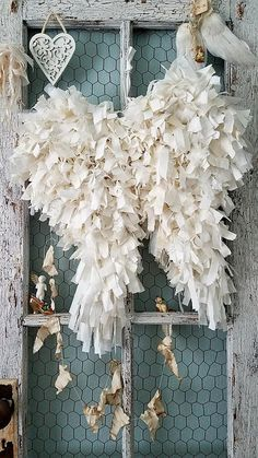 Your place to buy and sell all things handmade Shabby Chic Crafts, Vintage Shabby Chic, Shabby Chic Decor, Wedding Chair Signs, Wedding Chairs, Christmas Angels, Christmas Diy, Vintage Fabrics, Angel Wings