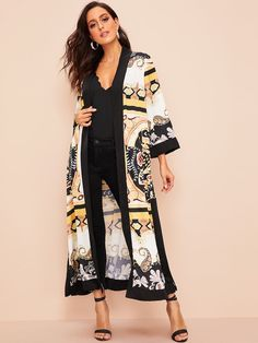 To find out about the Contrast Trim Split Side Belted Paisley Kimono at SHEIN, part of our latest Kimonos ready to shop online today! Chiffon Kimono, Kimono Dress, Kimono Fashion, Fashion Outfits, Mode Kimono, Stylish Dress Designs, Skirts For Sale, Beachwear For Women, Lace Tops