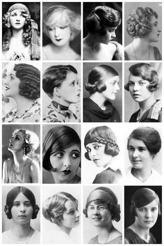 Hairstyles from the 1920's. I want the first ones left from right from the first and third rows.