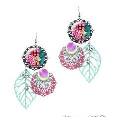 Boucles d'oreille turquoise et rose - boucles d'oreille gipsy