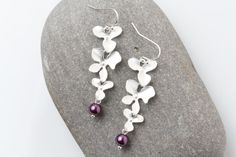 Plum wedding earrings silver orchid Bridesmaid earrings plum wedding jewelry triple orchid earrings Bridesmaid gift,  plum pearl earrings by CharmanteBijoux on Etsy