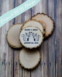 50 Rustic Woodland Foxes Wedding Favor or Save the Date Wood Magnets. $90.00, via Etsy.