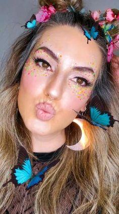 Fairy Costume Makeup, Fairy Halloween Makeup, Butterfly Halloween Costume, Fairy Makeup, Halloween Costumes, Fairy Costumes, Butterfly Makeup, Fabric Butterfly, Butterfly Hair