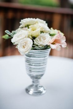 Vase Filled with Roses| {Blush & Ivory} Elegant  St. Paul College Club Wedding|Photographer:  Time Into Pixels Photography