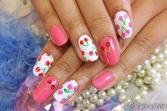 cherry mani.  credit:  nailpop.tumblr.com/post/27097421980/pink-x-cherries#.