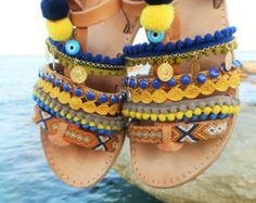 ERATO Greek Tie up Gladiator Leather Sandals for Boho by ENOTIA