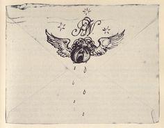 Handmade envelope from Rex Whistler to Edith Olivier