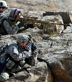 """U.S Army Sniper with a M107 SASR (Special Application Scoped Rifle), .50 BMG, also called the """"Light Fifty""""."""