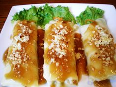 Lumpiang Sariwa or Fresh Spring Roll is a vegetable dish composed of different vegetables with a soft (unfried) wrapper garnished with sweet sauce and crushed peanuts. Some popular variations of this dish are lumpiang ubod (made with heart of palm) and lumpiang hubad (Unwrapped lumpiang sariwa).