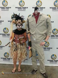 Hallowen Costume Couples Harry the Hunter and Voodoo Shaman Costumes from Beetlejuice on a Budget! Diy Halloween Games, Hallowen Costume, Halloween Kostüm, Halloween Projects, Couple Halloween Costumes, Halloween Cosplay, Cool Costumes, Cosplay Costumes, Halloween Recipe