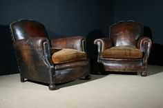 Pair of Century Antique French Leather Club Chairs Lodge Furniture, Leather Furniture, Leather Sofa, Chesterfield, Chair Design, Furniture Design, Leather Club Chairs, Antique Interior, French Chairs