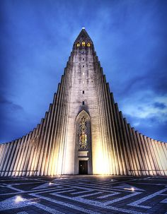 Hallgrímskirkja, a church in downtown Reykjavik, Iceland. It is built to resemble an ancient area of the countryside, near a waterfall, where stones in these shapes were found as part of a natural geological formation. By Stuck in Customs