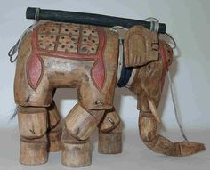 Tibetan hand carved elephant wood marionette.