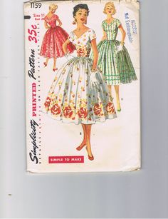 1950s  Party DressSimplicity 1159  Size 11 by VintageSewingSuite, $10.00