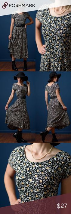 Vintage 1990s Ditzy Print Black Maxi Dress D E T A I L S -black ditzy print maxi dress with mustard colored flowers -easy slip on fit (belt not included) -made by All That Jazz -best fit for a modern day size 4 to 6) -in excellent vintage condition   M E A S U R E M E N T S  (taken with garment laying flat) s h o u l d e r : no shoulder seam b u s t : 16 inches (armpit to armpit) w a i s t : 15 inches across h i p : 22 inches across (at widest point) l e n g t h : 47 inches (from shoulder)…