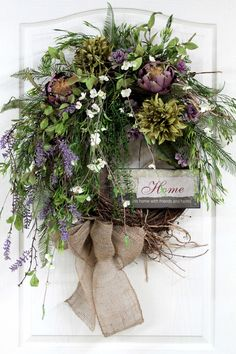 Country Wreath, Front Door Wreath, Everyday Wreath, Spring Wreath, Wildflowers, Honeysuckle, Summer Wreath, Country Decor -- FREE SHIPPING. $162.00, via Etsy.