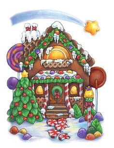 Christmas Gingerbread House Cartoon.Pinterest