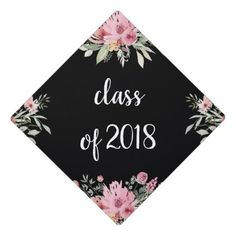 Trendy Floral on Black   Class of 2018 Graduation Cap Topper - script gifts template templates diy customize personalize special