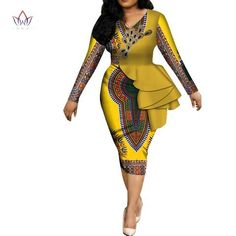Image of Fashion 2019 spring Africa Dresses for women vestidos Print Fabric Elegant Africa Clothes Ruffles African Clothing BRW African Party Dresses, Latest African Fashion Dresses, African Dresses For Women, African Print Fashion, Africa Fashion, African Attire, Women's Fashion Dresses, Modern African Fashion, African Women Fashion