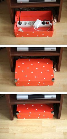 When all else fails, use a box to keep a power strip and chargers organized but far from view. (It's the easiest — and prettiest — solution.) If you store this box near your media center (as you should!) you can add plug for your TV and lamps, too. Click through for more on this and other phone charging station ideas.