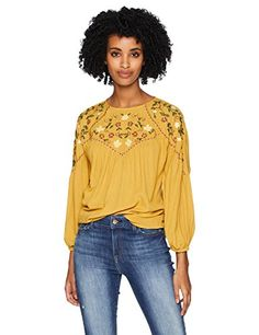 7ce4bdad9604 Serene Bohemian Women s Mustard Color Top with Embroidered Yoke Panels