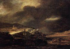 """REMBRANDT """"Stormy Landscape"""" c. 1638, Oil on wood, 52 x 72 cm, Herzog Anton Ulrich-Museum, Braunschweig"""